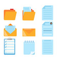 set of document related symbol flat style vector image