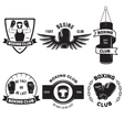 Set of vintage boxing emblems labels badges logos vector image