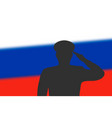 solder silhouette on blur background with russia vector image vector image