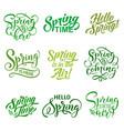 springtime season quotes icons set vector image vector image