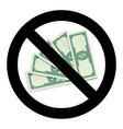 stop cash and currency no money label vector image vector image