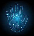 technology cyber security hand palm circuit vector image vector image