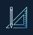 triangle ruler with pencil outline colorful vector image vector image