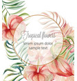 tropical flowers and leaves card with place vector image vector image