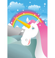 Unicorn on landscape Rainbow Fields and meadows vector image
