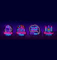vape shop neon sign collection vaping vector image vector image