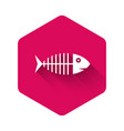 white fish skeleton icon isolated with long shadow vector image vector image