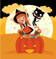 Witch and her cat celebrate Halloween vector image