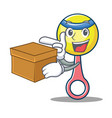 with box rattle toy character cartoon vector image