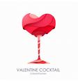3D valentine cocktail design vector image