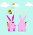 happy easter bunny egg design celebrate card vector image