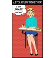 Pop art education poster study together vector image