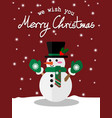 snowman with green scarf vector image