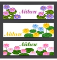 Natural banners with lotus flowers and leaves vector image