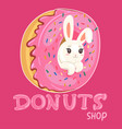 a rabbit in donut donut shop logo graphics vector image