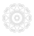 black and white round simple mandala hearts vector image vector image