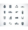 black garbage icons set vector image vector image
