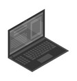 black laptop icon isometric style vector image vector image