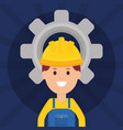 builder worker with helmet and gear vector image