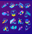 business analytics icons set vector image