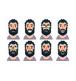 cartoon bearded man character with various facial vector image vector image