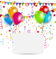 celebration card with balloons confetti and vector image vector image