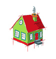 Colorful house sketch isolated on white vector image vector image