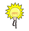 comic cartoon light bulb vector image vector image