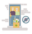 contactless food delivery to elderly vector image vector image