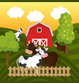 cows in the farm scene vector image