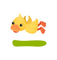 cute funny little yellow duckling character flying vector image vector image