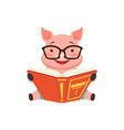 cute smart pig sitting on the floor anf reading vector image