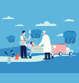 doctor taking patient to hospital vector image vector image