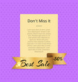 don t miss it best sale 50 off poster with ribbon vector image vector image