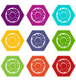 donut icon set color hexahedron vector image vector image