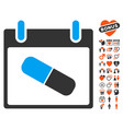 drugs pill calendar day icon with valentine bonus vector image vector image