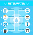 filter water purification infographic flat style vector image