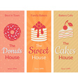 Flat card with sweet pastries vector image vector image