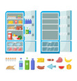 flat fridge full and empty refrigerator in vector image vector image