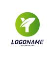 font with leaf logo design concepts nature letter vector image vector image