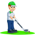 funny men cartoon playing golf vector image vector image