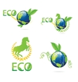 green eco earth sign set vector image