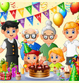 happy family celebrating birthday vector image vector image