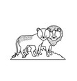 line cute lion animal couple together vector image vector image