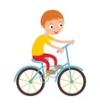Little happy boy on his sport bike vector image