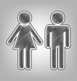 male and female sign pencil sketch vector image vector image