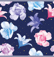 multicolor flowers roses lily blue background vector image
