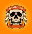 october fest skull with ribbon vector image