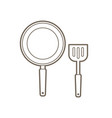 pan and spatula top view outline graphic vector image vector image