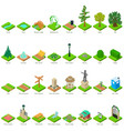 park nature elements icons set isometric style vector image vector image